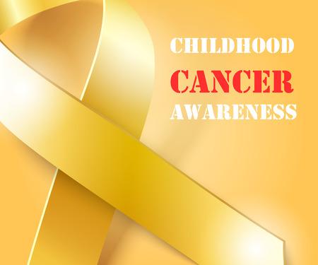 infancia: concepto de la conciencia del cáncer, fondo de oro con cinta de oro, ilustración vectorial Vectores