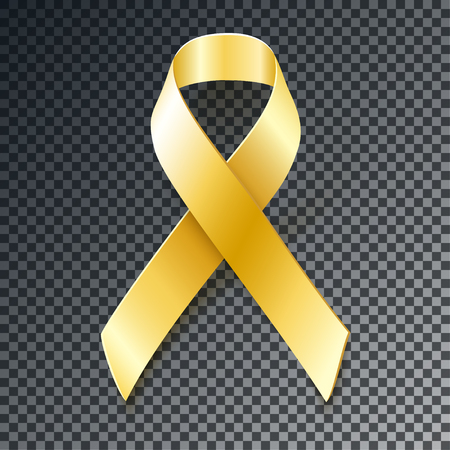 Gold ribbon with transparent shadow. Childhood Cancer Awareness  design element isolated on dark background
