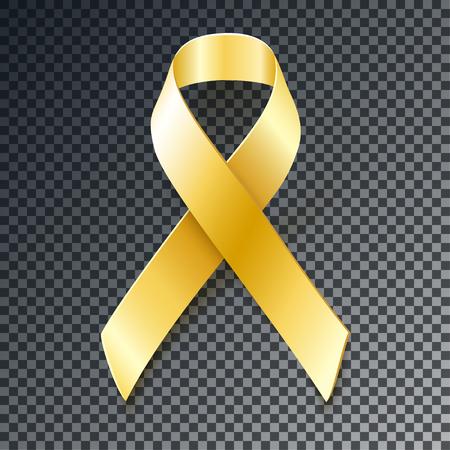 Złota wstążka z przezroczystym tle. Childhood Cancer Awareness element projektu samodzielnie na ciemnym tle