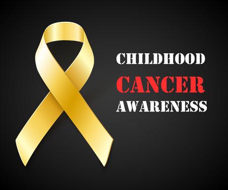 infancia: Concepto de la conciencia del cáncer, fondo negro con cinta de oro, ilustración vectorial