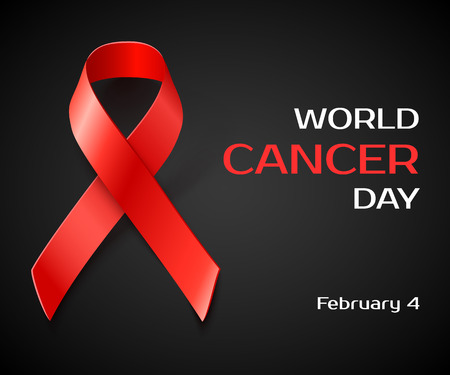 february 1: Awareness World Cancer Day concept , black background with red ribbon, vector illustration