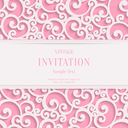 Vector Swirl Pink 3d Valentines or Wedding Invitation Cards Background with Curl Damask Pattern