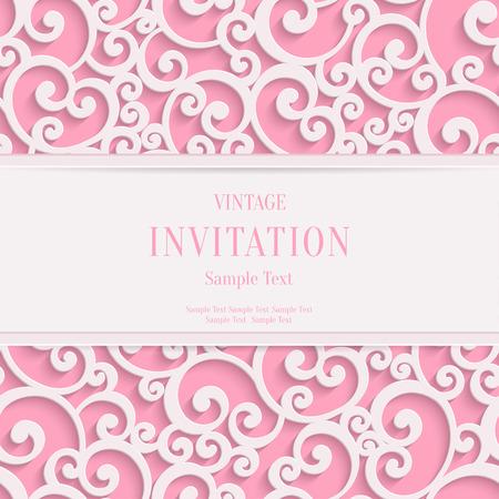 Vector de San Valentín rosada del remolino 3d o de la boda tarjetas de invitación de fondo con el modelo del rizo damasco Ilustración de vector