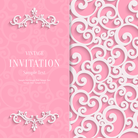 curle: Floral Curl Pink Background with 3d Swirl Damask Pattern for Wedding or Valentines Invitation Card. Vector White Vintage Design
