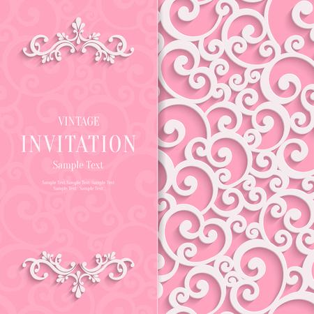 pink floral: Floral Curl Pink Background with 3d Swirl Damask Pattern for Wedding or Valentines Invitation Card. Vector White Vintage Design