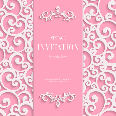 curle: Pink 3d Floral Curl Background with Swirl Damask Pattern for Valentines or Wedding or Invitation Card. Vector Vintage Design Template