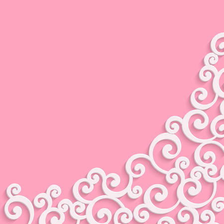 curle: Pink 3d Floral Swirl Background with Curl Pattern. Abstract Vector Vintage Valentines Day Card Design Template