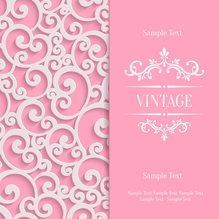 curle: Pink 3d Swirl Valentines Day Card with Floral Curl Pattern, Invitation Vector Template Background Illustration