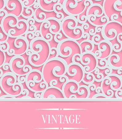 curle: 3d Floral Pink Wedding or Valentines Card with Curl Pattern. Vector Swirl Design