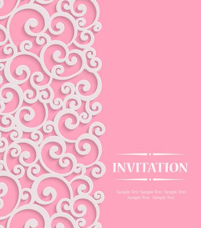 curle: Pink 3d Floral Curl Wedding or Valentines Card with Swirl Damask Pattern