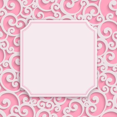 matrimonio feliz: De felicitación del día rosado del vector 3d Curl de San Valentín o la tarjeta de invitación de la boda con el modelo del damasco del remolino floral