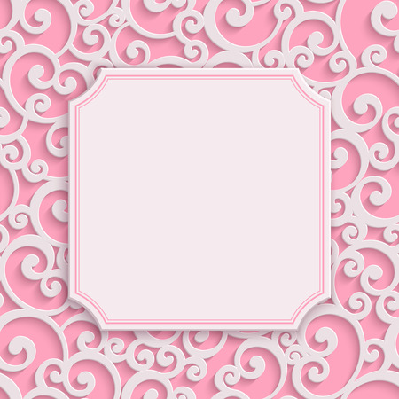 curle: Vector Pink 3d Curl Valentines Day Greeting or Wedding Invitation Card with Damask Floral Swirl Pattern