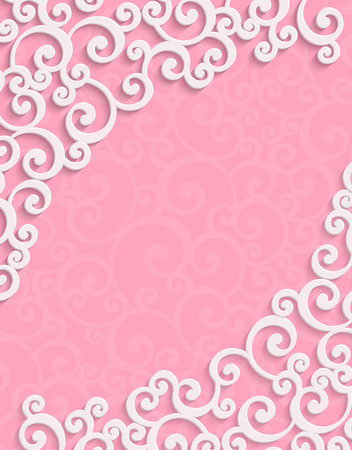 curle: Pink 3d Floral Swirl Vertical Background with Curl Pattern for Valentines Day or Wedding Invitation Card. Abstract Vector Vintage Design Template