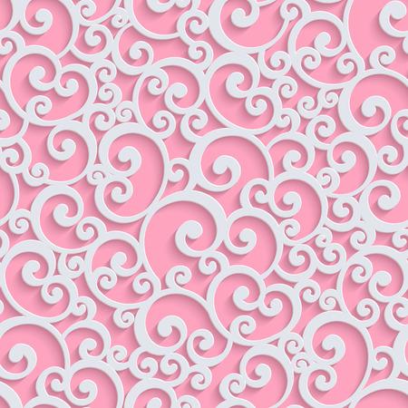핑크 꽃 3d 연속 패턴 배경입니다. 벡터 곱슬 곱슬 장식 벽지 또는 낭만주의 초대 카드에 대 한. 소용돌이 모양의 디자인