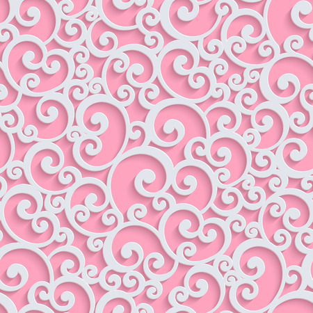 Pink Floral 3d Seamless Pattern Background. Vector Curl Decoration For Wallpaper or Romantic Invitation Card. Swirl Design 矢量图像