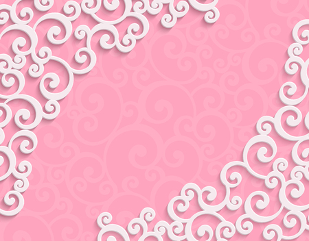 curle: Pink 3d Floral Swirl Horizontal Background with Curl Pattern for Valentines Day or Wedding Invitation Card. Abstract Vector Vintage Design Template