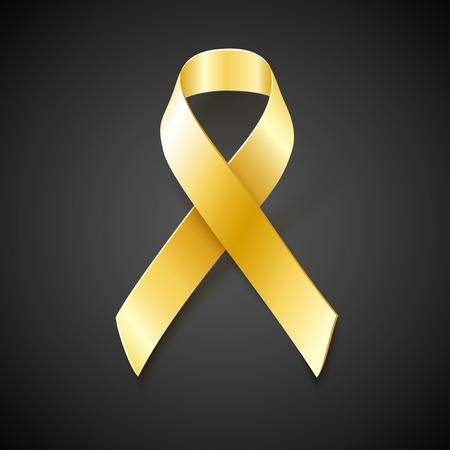 childhood cancer: Gold ribbon on black background. Childhood Cancer Awareness vector illustration Illustration