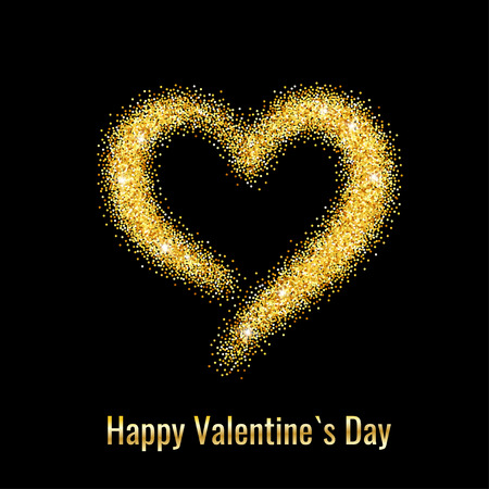 gold heart: Happy Valentines Day Greeting Card with Gold Glitter Dust Heart. Vector illustration.