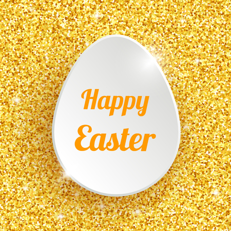 gold glitter: Happy Easter Greeting Card with 3d White Paper Egg on Gold Glitter Dust Sparkle Background