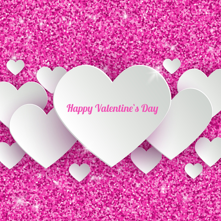 hearts background: Happy Valentines Day Greeting Card with 3d White Paper Hearts on Pink Glitter Dust Sparkle Background, abstract vector illustration with copy space for your text
