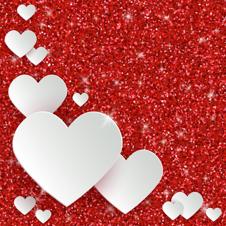 Happy valentines day greeting card with 3d white paper hearts happy valentines day greeting card with 3d white paper hearts on red glitter dust sparkle background m4hsunfo