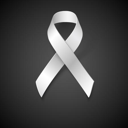 white ribbon: Awareness White Ribbon, Safe Motherhood Symbol on black background, vector design element.