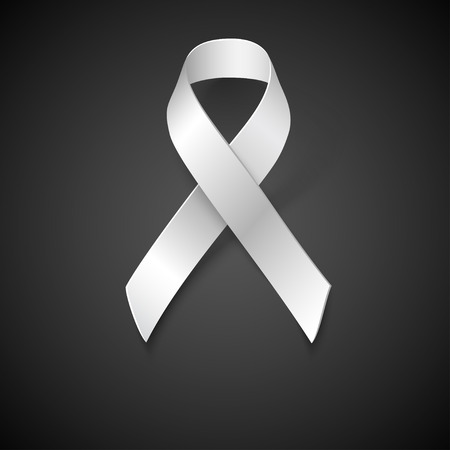 Awareness White Ribbon, Safe Motherhood Symbol on black background, vector design element.