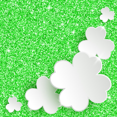 irish easter: St. Patricks day Greeting Card, holiday glitter dust sparkle green background with white paper clover flowers, vector illustration with place for text