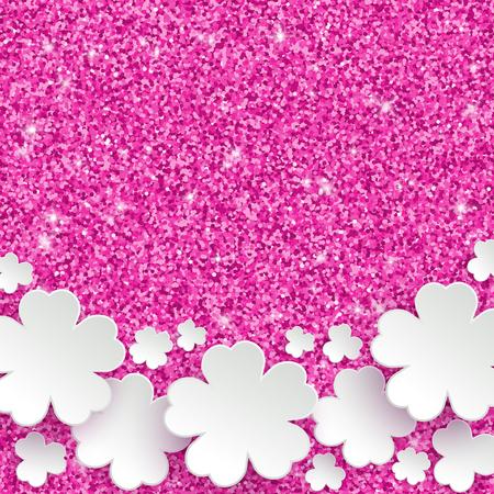 jolie fille: Bonne f�te la f�te des m�res ou des femmes internationales ou � P�ques carte de voeux, vacances glitter poussi�re sparkle fond rose avec des fleurs en papier blanc, illustration vectorielle avec place pour le texte Illustration