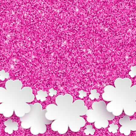 sticky: Happy Mothers Day or international womens day or Easter greeting card, holiday glitter dust sparkle pink background with white paper flowers, vector illustration with place for text Illustration