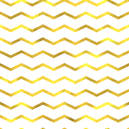 waves pattern: Gold glittering foil seamless pattern background with zig zag