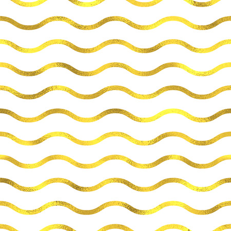 yule tide: Gold glittering foil seamless pattern background with waves Illustration
