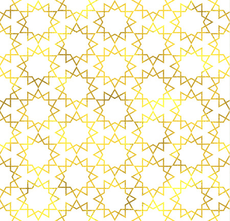 arabic background: Gold glittering foil ornamental arabic seamless pattern background