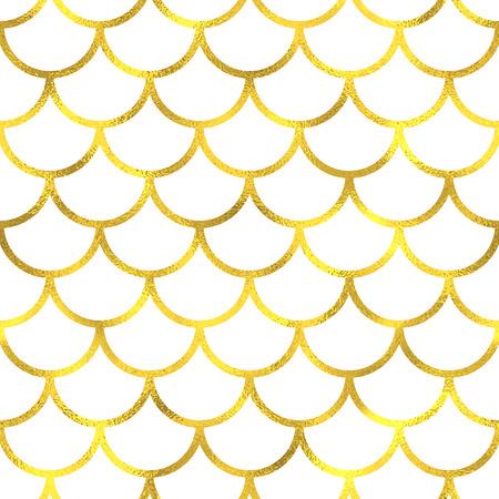 Gold vintage foil japanese waves seamless pattern background