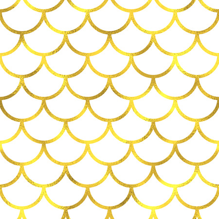 Gold vintage foil japanese waves seamless pattern background