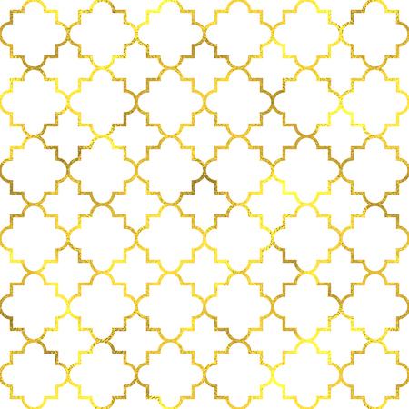 Gold vintage foil ornamental arabic seamless pattern background Illustration