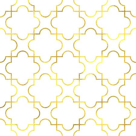 gold stars: Gold vintage foil ornamental arabic seamless pattern background Illustration