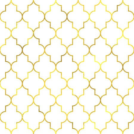 Gold vintage foil ornamental arabic seamless pattern background Illustration