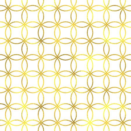 Fondo senza cuciture geometrico del modello della stagnola d'annata dell'oro con i cerchi