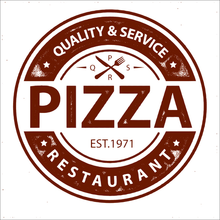 Vintage Vector Pizza Logo, Label Stamp isolated on white background