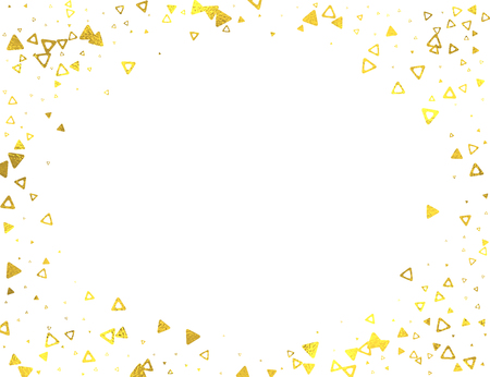 glitter background: Gold glittering horizontal frame with foil triangles isolated on white background, vector design elements