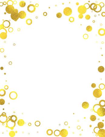 Marco de oro con los círculos de papel de aluminio en el fondo blanco, aislados elementos de diseño vectorial Foto de archivo - 54021461