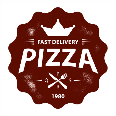 Vintage Vector Pizza Logo, Label Stamp isolated on white background Logo