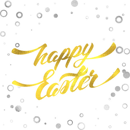 silver circle: Happy Easter Hand Lettering with Gold Foil Texture Greeting Card. Vector Background with Abstract Silver Fiol Circle Frame