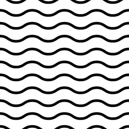 Vector waves seamless pattern. Black and white geometric background. Ilustração
