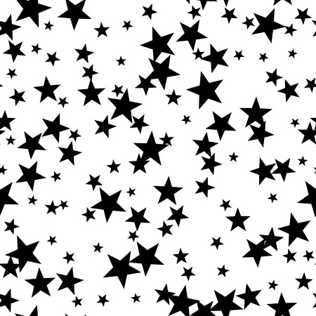 black star: Seamless pattern with stars, vector black and white background