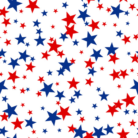 Patriotic American Vector Seamless Pattern with Red and Blue Stars on White Background