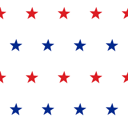 red and blue: Patriotic American Vector Seamless Pattern with Red and Blue Stars on White Background
