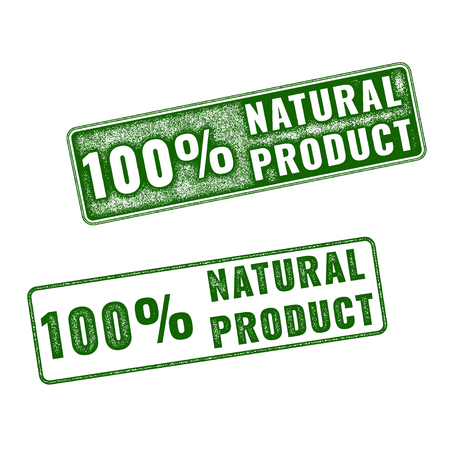 hundred: Set of green realistic vector Natural Product grunge rubber stamp isolated on white background.