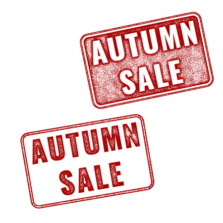 Two stamps Autumn sale. Vector realistic imprints isolated on white background